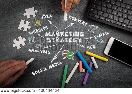 Marketing Strategy. Website, Idea, Content And Social Media Concept. Computer Keyboard And Mobile Ph