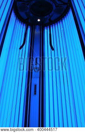 Vertical Empty Solarium Room With Blue Lighting, Blue Light Solarium