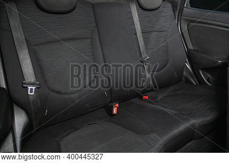 Novosibirsk, Russia - December 12, 2020:  Hyundai Solaris, Rear Seat For Passengers In Black Textile