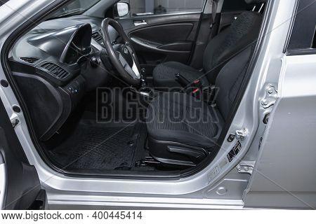 Novosibirsk, Russia - December 12, 2020:  Hyundai Solaris, Steering Wheel, Shift Lever And Dashboard