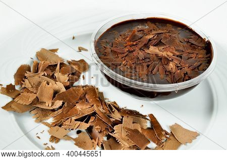 Yummy Chocolate Pudding Is Very Sweet, Turkish Pudding Supangle, Isolated On A White Background
