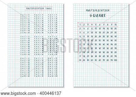 Set Of Hand Drawn Multiplication Table And Multiplication Square On Checkered Notebook Sheets. Vecto