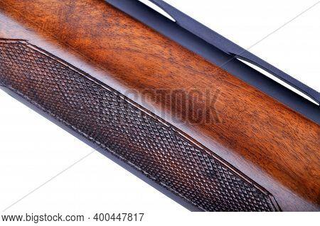 Shotgun Wooden Parts Isolated On White Background, Hunting Shotgun Detail