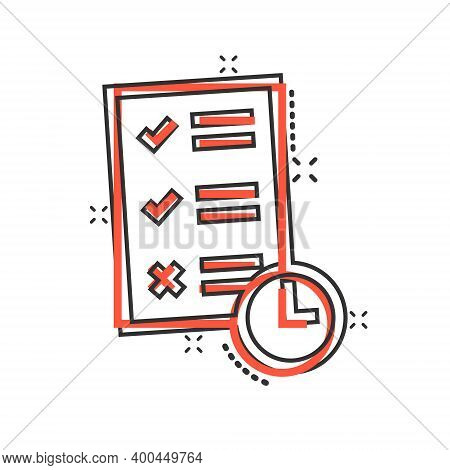 Contract Time Icon In Comic Style. Document With Clock Cartoon Vector Illustration On White Backgrou