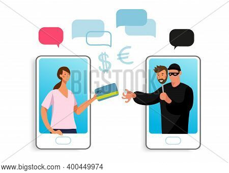 Conceptual Illustration Of Online Fraud, Cyber Crime, Data Hacking. A Woman On The Phone Screen And