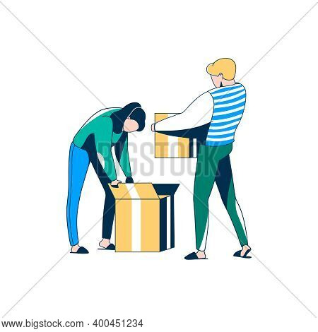 Couple Packing Or Unpacking Belongings In Boxes. Family Moving Into New House Or Apartment. Vector I