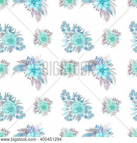 Seamless Pattern Botanical Arrangement, Blooming Magnolia, Rose On A White Background Flower Arrange