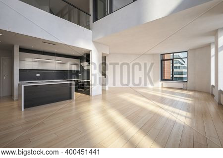 Modern design empty room interior. Real estate investment. 3d Rendering