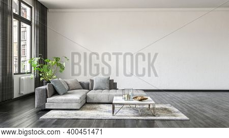 Modern design living room interior with a grey couch. 3d Rendering