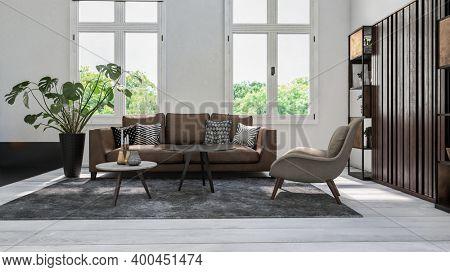 Cozy white scandinavian style living room interior. 3d Rendering