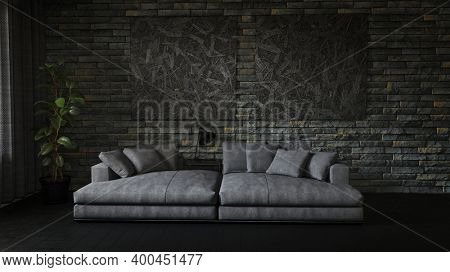 Dark black grunge style living room interior with couch and brick wall. 3d Rendering