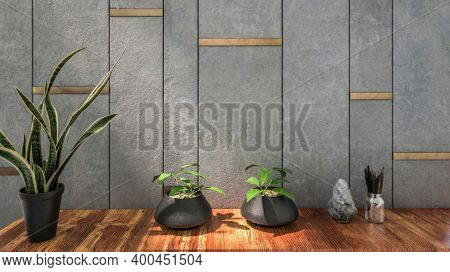Stone background with potted plants in the foreground. 3d Rendering