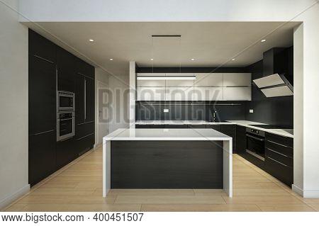 Modern black and white style kitchen interior with kitchen island. 3d Rendering