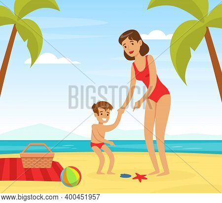 Young Woman In Beachwear Playing With Her Kid On Sea Shore Vector Illustration