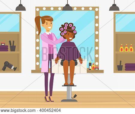 Female Hairstylist Or Hairdresser Doing Hair Vector Illustration