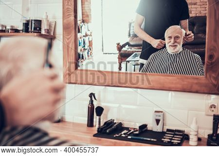 Adult Man Came To Young Barber For Style Haircut.