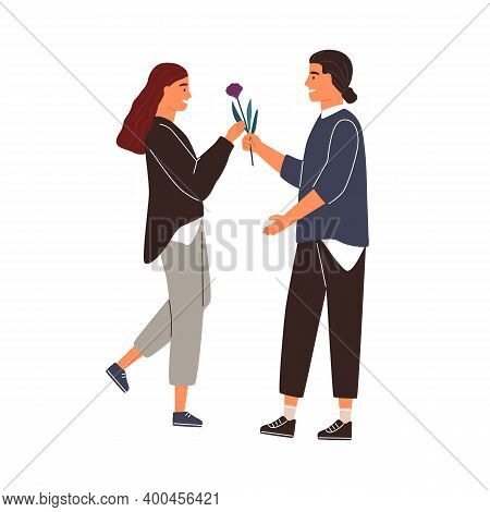Smiling Male Adorer Giving Flower To Cute Girlfriend Vector Flat Illustration. Happy Woman Taking Gi