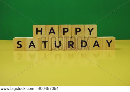 Happy Saturday Alphabet Letter On Green And Yellow Background