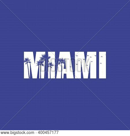 Miami Beach Typography. Summer Tropical T-shirt Graphics Print. Vector Palm Leafs Illustration.