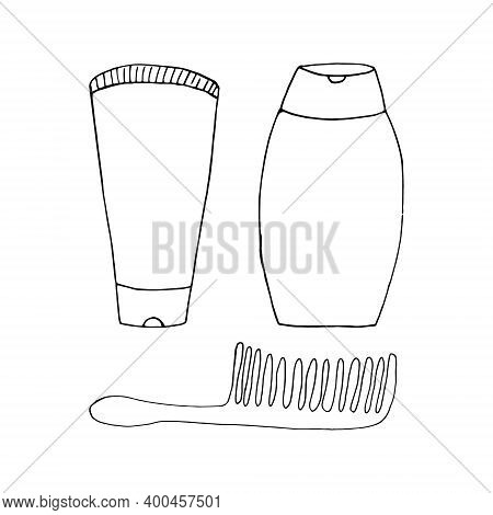 Bottles Of Shampoo, Balm, Comb Set Icon, Sticker. Sketch Hand Drawn Doodle Style. Vector Minimalism