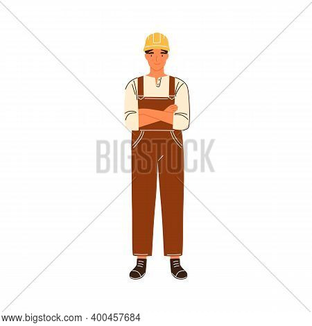 Portrait Of Male Construction Worker Standing With Crossed Hands Vector Flat Illustration. Smiling F