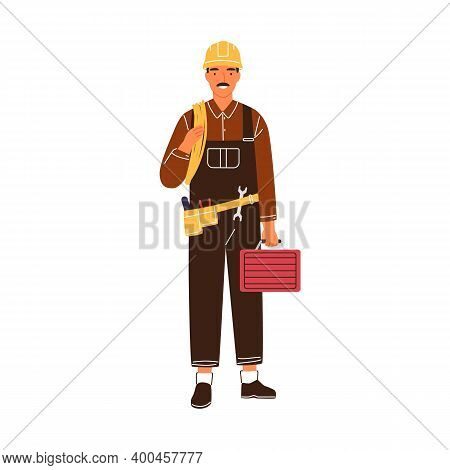 Professional Male Electrician With Toolbox And Electrical Wire Vector Flat Illustration. Industrial