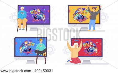 Funs Are Watching The Cyber Sport Streamer. Cyber Sport Pro Gamer Man Live Streaming Game Match Sitt
