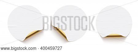 White Glued Round Stickers With Golden Back Side Curling Set. 3d Circular Shaped Blank Paper Labels