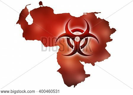 Biohazard Sign Against The Background Of A Contour Map Of Venezuela With A Red Glow. The Concept Of