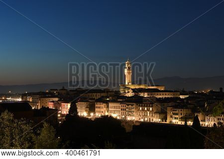 Cityscape Of Florence. The Palazzo Vecchio Is The Town Hall Of Florence, Italy.