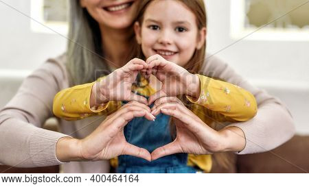 Spreading Love. Close Up Portrait Of Little Girl Granddaughter Spending Time Together With Her Lovin