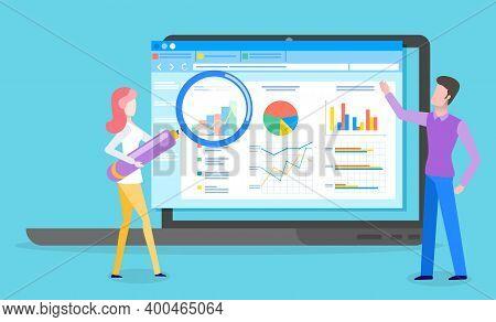 Business Analyst. Professional Business Man Analyzing Business Growth On Data Presentation. Marketin