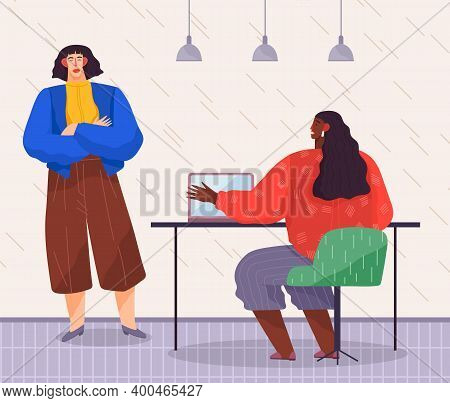 Business Meeting Concept. Office Worker Female Character Sitting At A Table Chief Communicates With