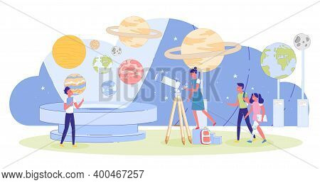 Children Visiting Innovation Educative Excursion At Planetarium. Kid At Observatory. Boy And Looking