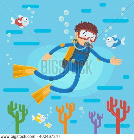 Happy Scuba Diver Swimming Over The Coral Reef With Fishes, A Vector Illustration Of A Scuba Diver D
