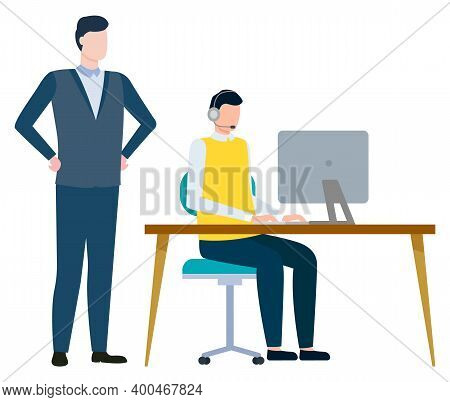 Working Man Vector, Isolated Male With Employee Flat Style Characters At Work. Businessman Supervisi