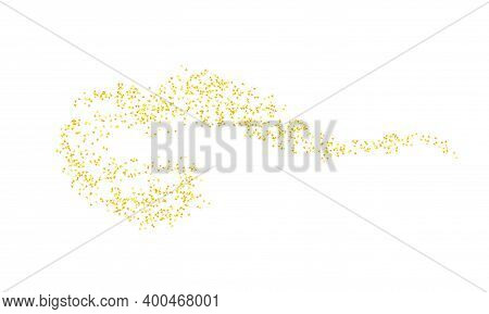 Horizontal Curl Sprinkled With Crumbs Golden Texture. Background Gold Dust On A White Background. Sa