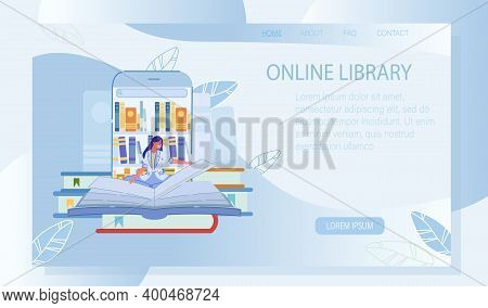 Online Library Media Resource Landing Page Design. Young Woman Enjoy Reading Ebook, Searching For Ne