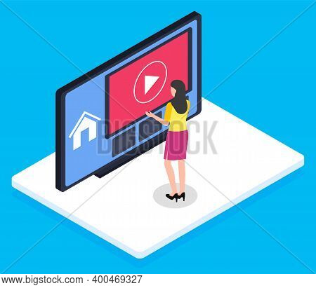 Young Brunette Girl, Back View, Standing On White Platform In Front Of Cartoony Huge Monitor With Vi