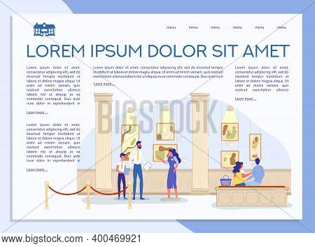 Classic Art Gallery Presentation. Museum With Painting Artwork Exhibition Informative Landing Page D
