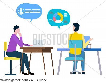 Administrators Or Financial Workers Sitting At Tables With Computers, Thought Bubbles With Statistic