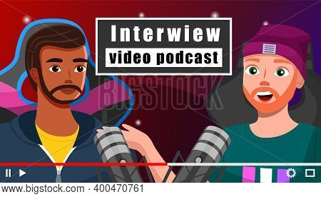 Interview Video Podcast Screensaver Of Videotape Recording Male Bloggers Tell About Computer Games S