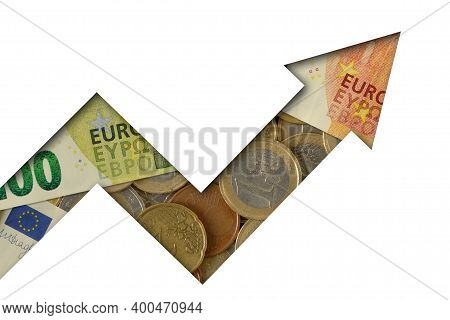 Upward Arrow Made Of Euro Coins And Banknotes On White Background - Concept Of Growing And Upward Tr