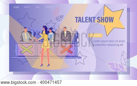 Talent Show Casting Entertainment. Young Woman Vocal Singer Performing On Stage Front Of Concert Jur