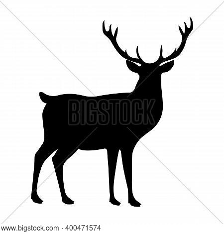 Red Deer Silhouette Isolated On White Background. Side View.