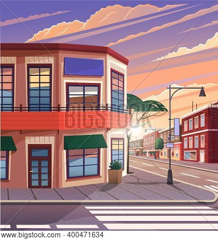 Street Of Town Illustration Of The Historic Urban Area With Trees And Streetlight In Evening Time. C