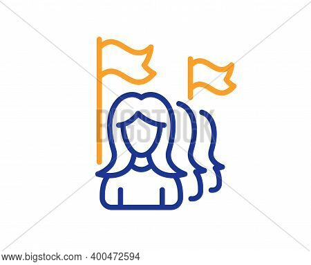 Feminism Line Icon. Women Protest Sign. People With Flags Symbol. Quality Design Element. Line Style