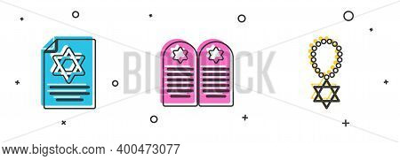 Set Torah Scroll, Tombstone With Star Of David And Star David Necklace Chain Icon. Vector