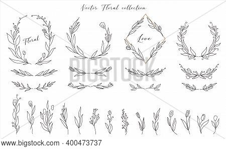 Set Of Cute Hand Drawn Floral Decorative Design Elements. Frames Wreath Dividers Flowers, Branches.