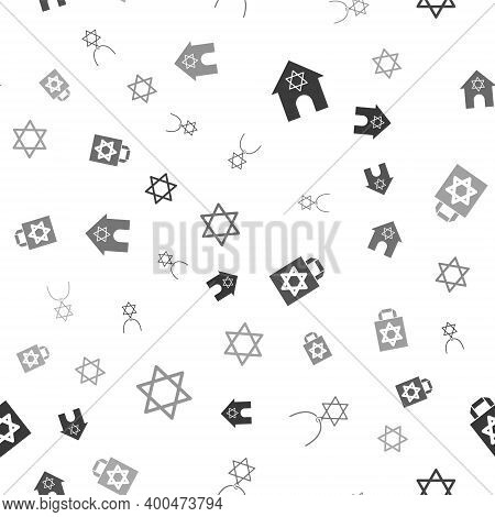 Set Jewish Synagogue, Star Of David Necklace On Chain, Shopping Bag With Star David And On Seamless